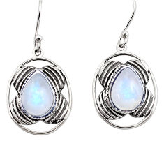 6.03cts natural rainbow moonstone 925 sterling silver dangle earrings p88455