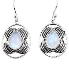 5.79cts natural rainbow moonstone 925 sterling silver dangle earrings p88458
