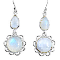 17.53cts natural rainbow moonstone 925 sterling silver dangle earrings p89294