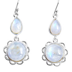 18.73cts natural rainbow moonstone 925 sterling silver dangle earrings p89295