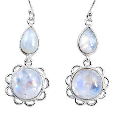 17.53cts natural rainbow moonstone 925 sterling silver dangle earrings p89298