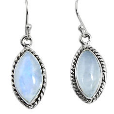 12.22cts natural rainbow moonstone 925 sterling silver dangle earrings p89666