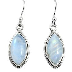 11.17cts natural rainbow moonstone 925 sterling silver dangle earrings p89669