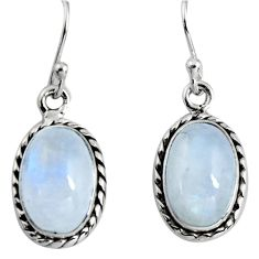 9.53cts natural rainbow moonstone 925 sterling silver dangle earrings p89672
