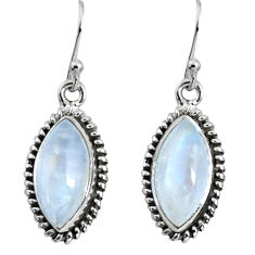 11.73cts natural rainbow moonstone 925 sterling silver dangle earrings p89677