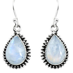 9.61cts natural rainbow moonstone 925 sterling silver dangle earrings p89690