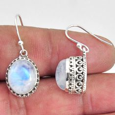7.76cts natural rainbow moonstone 925 sterling silver dangle earrings p89775