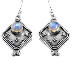 2.81cts natural rainbow moonstone 925 sterling silver dangle earrings p91321