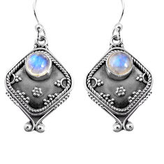 3.00cts natural rainbow moonstone 925 sterling silver dangle earrings p91323