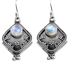 2.99cts natural rainbow moonstone 925 sterling silver dangle earrings p91325