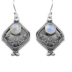 2.81cts natural rainbow moonstone 925 sterling silver dangle earrings p91326