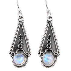 2.58cts natural rainbow moonstone 925 sterling silver dangle earrings p91340
