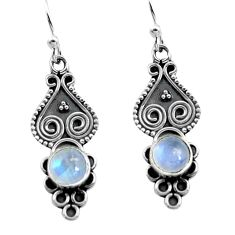2.28cts natural rainbow moonstone 925 sterling silver dangle earrings p91341
