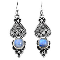 2.44cts natural rainbow moonstone 925 sterling silver dangle earrings p91342