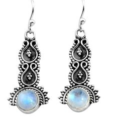 2.43cts natural rainbow moonstone 925 sterling silver dangle earrings p91343