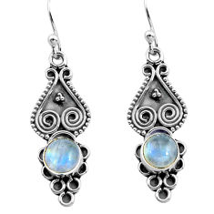 2.28cts natural rainbow moonstone 925 sterling silver dangle earrings p91349