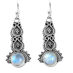 2.44cts natural rainbow moonstone 925 sterling silver dangle earrings p91353