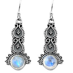 2.44cts natural rainbow moonstone 925 sterling silver dangle earrings p91354
