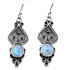 2.28cts natural rainbow moonstone 925 sterling silver dangle earrings p91356