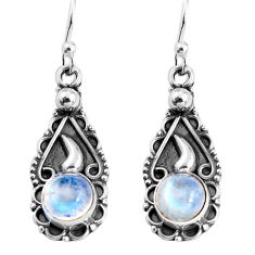 2.44cts natural rainbow moonstone 925 sterling silver dangle earrings p91381