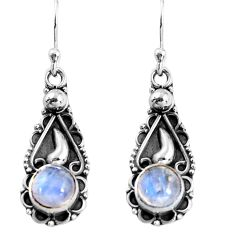 2.44cts natural rainbow moonstone 925 sterling silver dangle earrings p91382