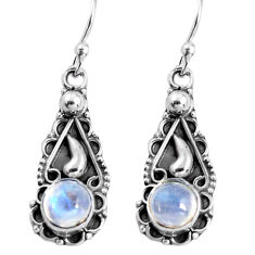 2.43cts natural rainbow moonstone 925 sterling silver dangle earrings p91383