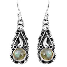 2.26cts natural rainbow moonstone 925 sterling silver dangle earrings p91389