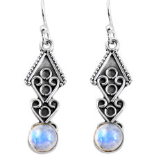 2.58cts natural rainbow moonstone 925 sterling silver dangle earrings p91392