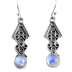 2.59cts natural rainbow moonstone 925 sterling silver dangle earrings p91396