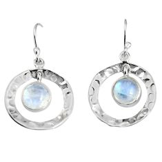4.35cts natural rainbow moonstone 925 sterling silver dangle earrings p91506