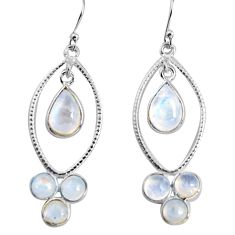 10.41cts natural rainbow moonstone 925 sterling silver dangle earrings p91533
