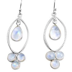 9.97cts natural rainbow moonstone 925 sterling silver dangle earrings p91534