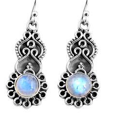 3.13cts natural rainbow moonstone 925 sterling silver dangle earrings p92745
