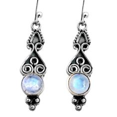 2.72cts natural rainbow moonstone 925 sterling silver dangle earrings p92748