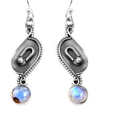 2.93cts natural rainbow moonstone 925 sterling silver dangle earrings p92756