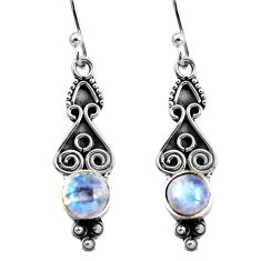 2.71cts natural rainbow moonstone 925 sterling silver dangle earrings p92757