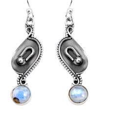 3.12cts natural rainbow moonstone 925 sterling silver dangle earrings p92759