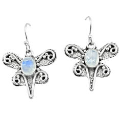3.29cts natural rainbow moonstone 925 sterling silver dragonfly earrings p57577
