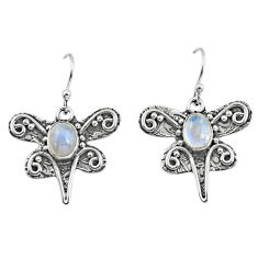 3.29cts natural rainbow moonstone 925 sterling silver dragonfly earrings p57578