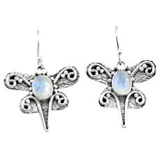 3.29cts natural rainbow moonstone 925 sterling silver dragonfly earrings p57580