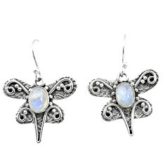 3.56cts natural rainbow moonstone 925 sterling silver dragonfly earrings p57600