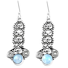 2.93cts natural rainbow moonstone 925 sterling silver earrings jewelry p39255