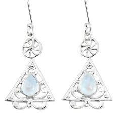 3.42cts natural rainbow moonstone 925 sterling silver earrings jewelry p58536