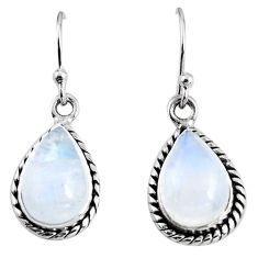 8.91cts natural rainbow moonstone 925 sterling silver earrings jewelry p92682
