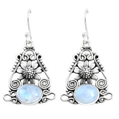 6.80cts natural rainbow moonstone 925 sterling silver flower earrings p51941