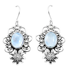 6.57cts natural rainbow moonstone 925 sterling silver flower earrings p51954