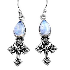 4.42cts natural rainbow moonstone 925 sterling silver holy cross earrings p91368