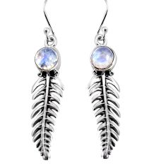 2.58cts natural rainbow moonstone 925 sterling silver leaf charm earrings p91369