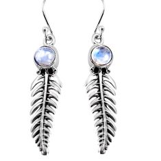 2.67cts natural rainbow moonstone 925 sterling silver leaf charm earrings p91374