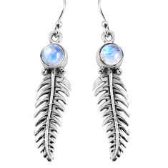 2.72cts natural rainbow moonstone 925 sterling silver leaf charm earrings p91377